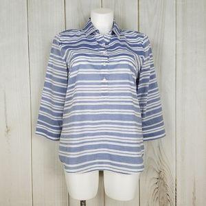 Van Heusen Blue Striped Collar Cotton Blouse